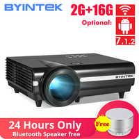 BYINTEK Luna BT96Plus Android Wifi Inteligente de Vídeo de 1080P proyector LED Full HD casa teatro soporte 4K en línea video