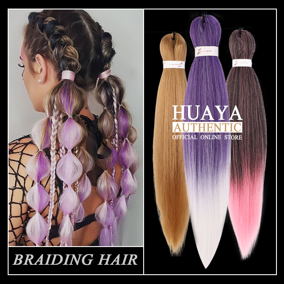HUAYA Purple Blonde Brown Crochet Hair Jumbo Braid Ombre Synthetic Heat Resistant Kanekalon Hair Extension African Women Braids