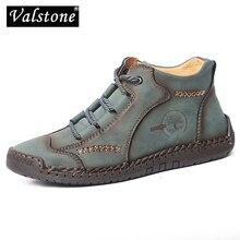 Valstone Qulaity Vintage botas para hombres División Retro cuero zapatillas de talla grande 38-48 botines medio-Top zapatos de costura a mano