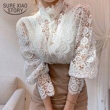 2021 wiosna koronkowa koszula patchworkowa białe topy przycisk wycięty kwiat stojak kołnierz Femme Blusas rękaw z płatkami kobiety bluzka 12419