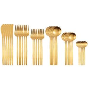 Knife-Fork Tableware Cutlery-Set Dessert-Spoon Matte Stainless-Steel Gold Kitchen Dinner