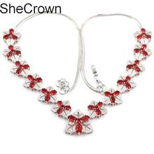 Fantastic Red Blood Ruby White CZ Womans Silver Necklace 18.0-18.5in 22x22mm