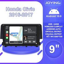 Автомагнитола 9 дюймов, Android 10, мультимедиа для Honda Civic 2016, 2017, 2018, 2019, поддержка Carplay, OEM камеры