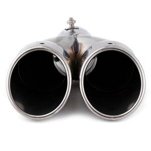 Image 2 - Silencieux déchappement, Double sortie 63mm, en acier inoxydable, chromé, tuyau revêtement de voiture modifié, garniture dextrémité