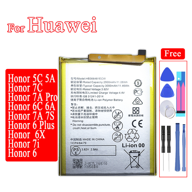HB366481ECW Mobile Phone Battery for Huawei Honor 5C 7C 7A Pro 6C 6A 7A 7S 6 7i 6X 7 6 Plus PE TL20 UL00 TL10 CL00 Battery