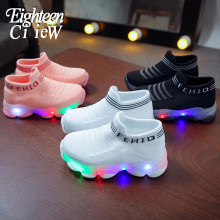 2019 LED ayakkabı aydınlık Sneakers ile Light Up Sole çocuk Boys sepetleri Breatbable slip-on ayakkabılar Femme Tenis Feminino LED terlik(China)