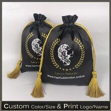 Satynowa torba na włosy jedwabna torebka peruka/torby na biżuterię/opakowanie/kosmetyki/upominki/wesele/impreza/buty luksusowe torby do przechowywania własne Logo 50p
