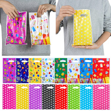 10/20pcs Printed Gift Bags Polka Dots Plastic Candy Bag Child Party Loot Bags Boy Girl Kids Birthday Party Favors Supplies Decor