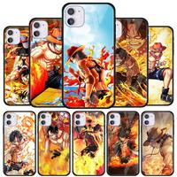 Funda de teléfono de vidrio templado para iPhone, carcasa de One Piece, Ace, 11, 12 Pro, X, XS, Max, XR, 7, 8, 6, 5, 5S, 6S Plus, SE, 2020