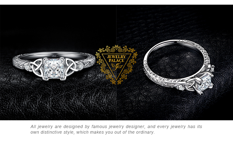Hf222ef9679c1418496913e1592ea695dz JPalace Celtic Knot Princess CZ Engagement Ring 925 Sterling Silver Rings for Women Anniversary Wedding Rings Silver 925 Jewelry