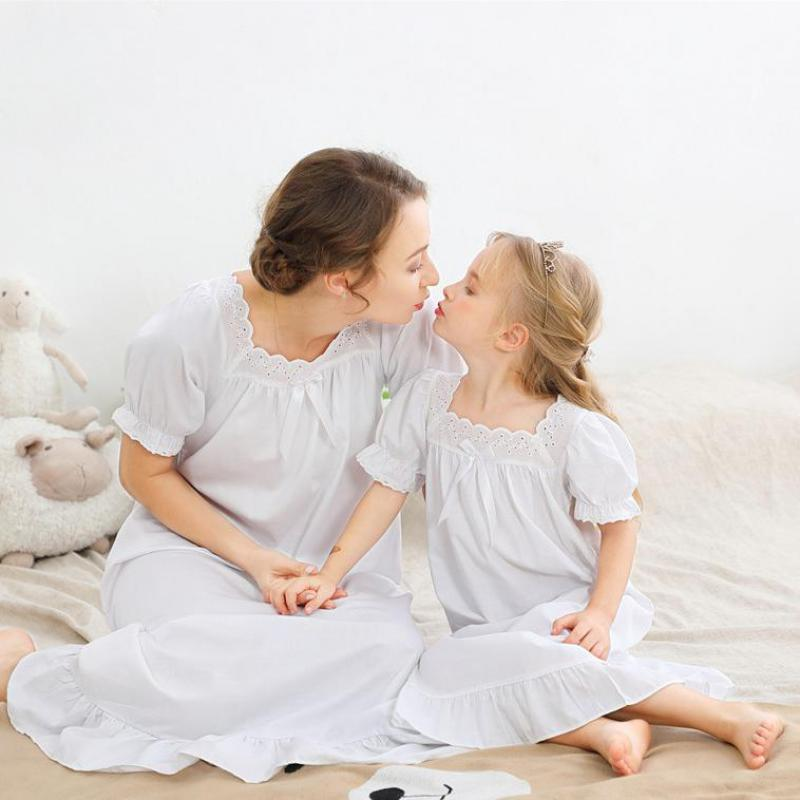 Summer Woman Short Sleeve Cotton Girl's Mother And Daughter's  Long Nightdress Princess Night Gowns For Kids Pajamas Nighties