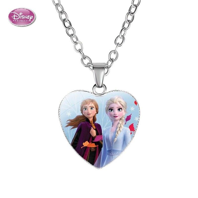 Disney frozen 2 colar de desenhos animados, colar de amor dos desenhos animados da princesa, de anna, formato de coração, colar de pingente, acessórios para meninas, presentes de crianças