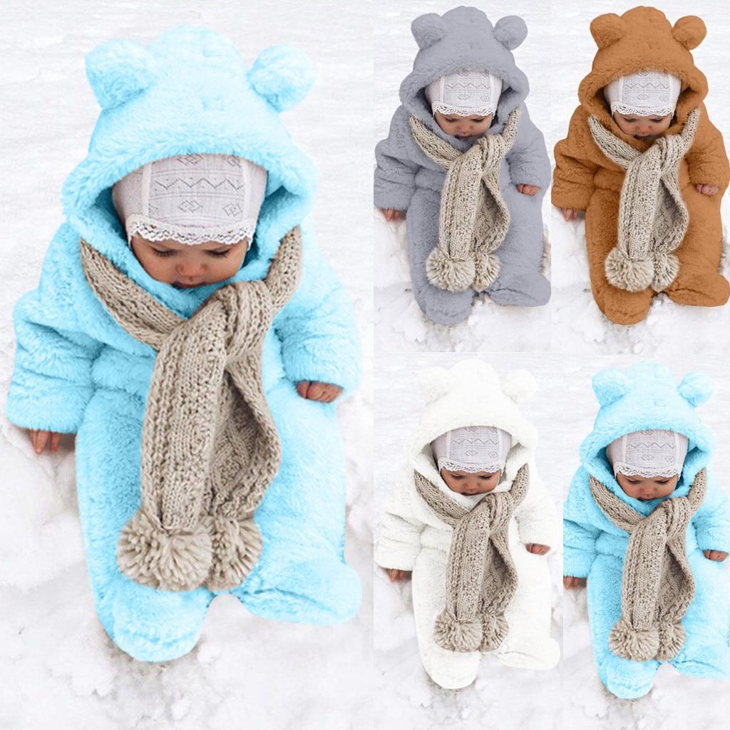 Infant Baby Boys Girl Winter Long Sleeve Fleece Bear Ears Hooded Romper Jumpsuit