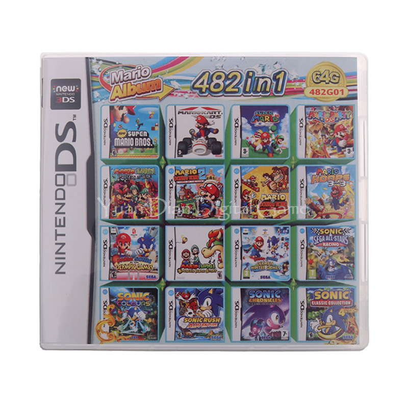482 In 1 Compilation Video Game Cartridge Card For Nintendo DS 3DS 2DS Super Combo Multi Cart