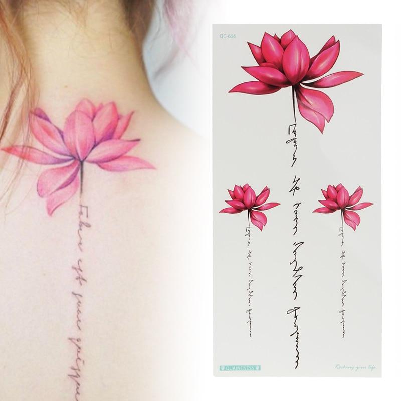 Shellhard 1 Sheet Womens Waterproof Temporary Lotus Tattoo Sticker Pink Lotus Flower Tattoo Sticker For Body Art Tattoo Stickers