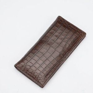 Image 3 - One piece Genuine Crocodile Belly Skin Businessmen Suits Clutch Wallet Authentic Alligator Leather Lining Male Long Card Purse