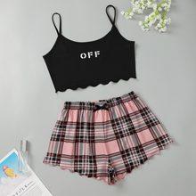 Camiseta De Dormir + Pantalones a cuadros para Mujer, Pijama para niña, camisón, Pijama De verano De dos piezas