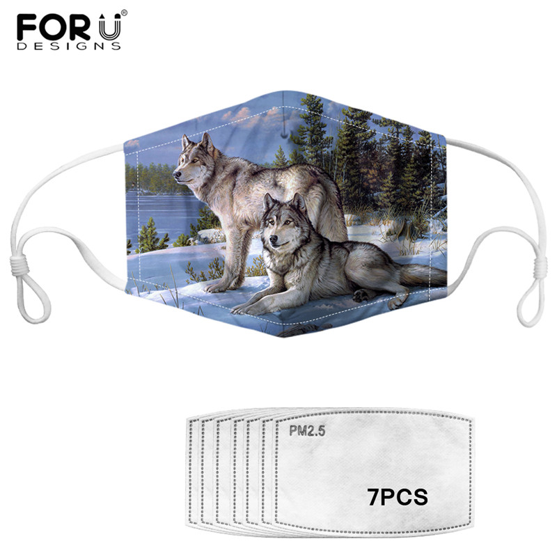 3D Wolf Print Cotton PM2.5 Mask With 7pcs Filter Washable Mouth-Muffle For Adult Kids Cool Wild Animal Cozy Anti Haze Dust Mask