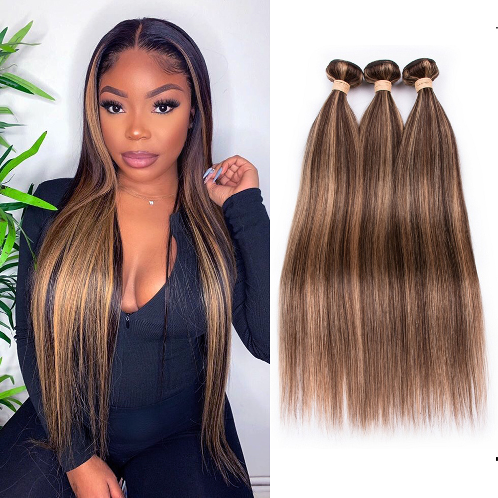 Sapphire Brazilian Straight Human Hair Bundles P4/27 Ombre Brown Straight Hair Bundles 3 Bundles Remy Human Hair Extensions