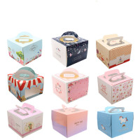 45pc/lot Small Cake Portable Paper Basket Wedding Candy Boxes Internally Visible Party Wedding Favors Tiny Baking Cake Gift Box