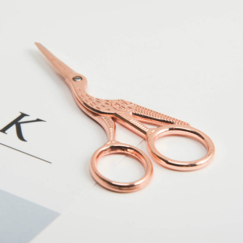 Fromthenon Creative Crane Shape Student Paper Scissors Cute Rose Gold Color Stainless Steel Safety Scissors Office Stationery