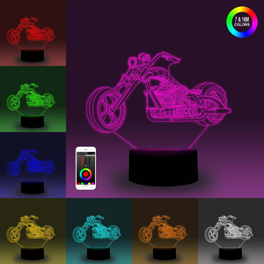 NiteApps 3D Classical Motorcycle Night Light Desk Table Illusion Decoration Lamp Holiday Birthday Gift APP/Touch Control