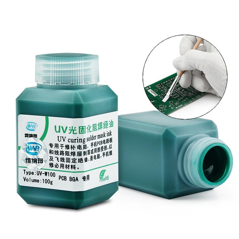 100g Green UV Curable Solder Mask BGA PCB Paint Prevent Corrosive Arcing Welding Fluxes Oil UV Photosensitive Ink