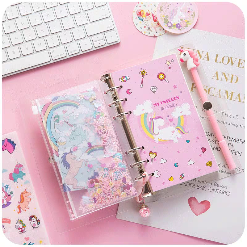 2020 Sharkbang Kawaii Unicorn A6 Loose Leaf Diary Notebook Bullet Journal Monthly Note Book Agenda Planner Sketchbook Stationery