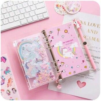 цена 2020 Sharkbang Kawaii Unicorn A6 Loose Leaf Diary Notebook Bullet Journal Monthly Note Book Agenda Planner Sketchbook Stationery онлайн в 2017 году