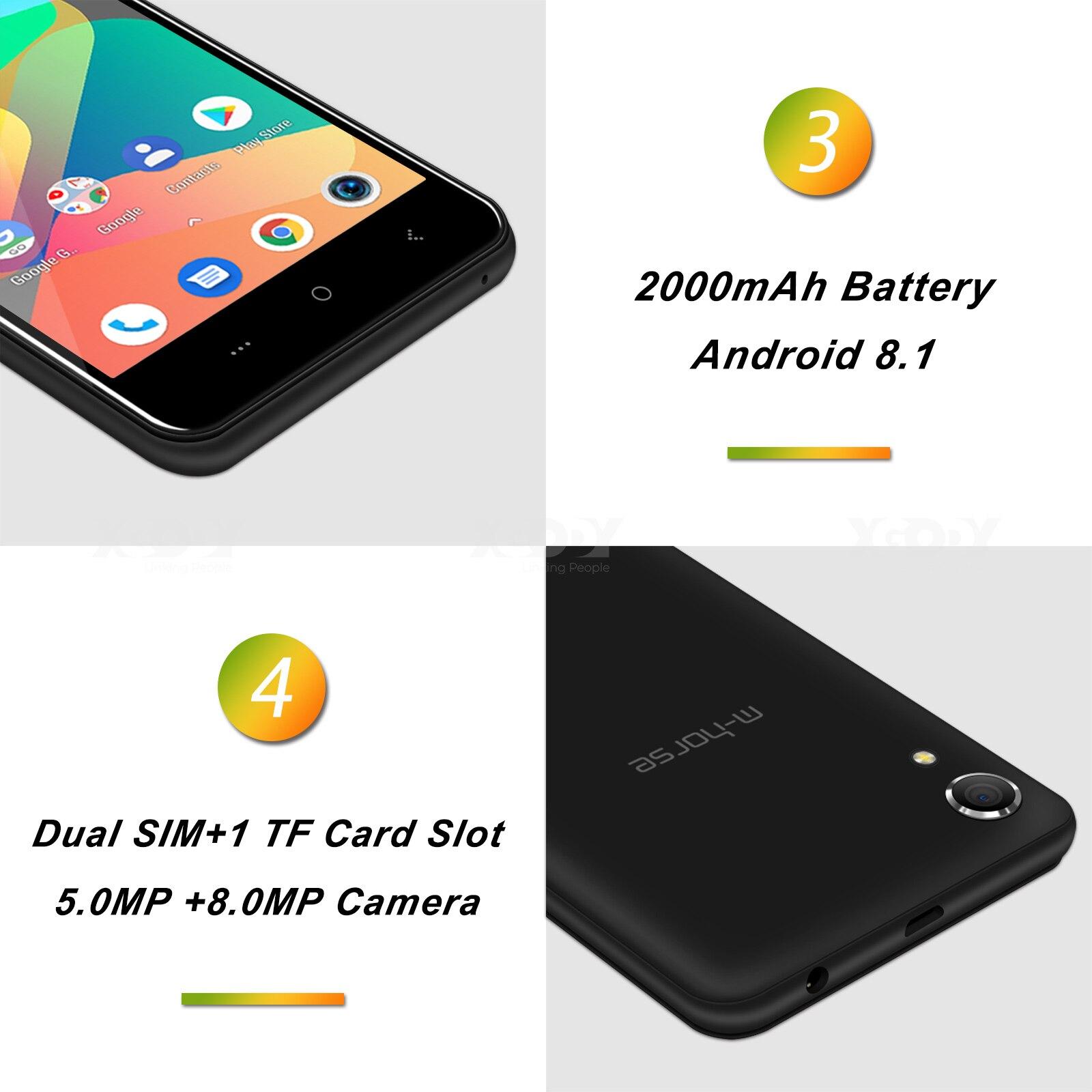 M-HORSE téléphone portable MTK6580 Quad Core Android 8.1 1GB RAM 8GB ROM 3G WCDMA 8.0MP 2000mAh double SIM Smartphone 5 pouces celulaire - 4