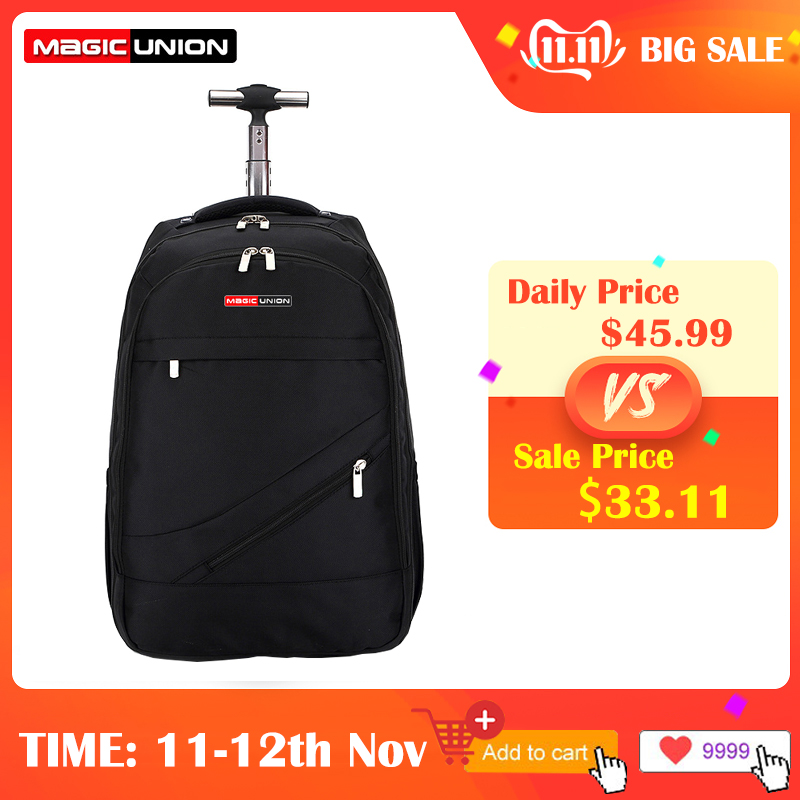 MAGIC UNION Men's Travel Bag Wheeled Backpack Large Rolling Waterproof School Book Bag Daypack Travel Carry On Luggage Suitcase