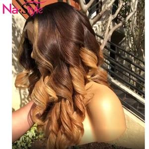 Image 5 - Perruque Lace Frontal Wig 360 naturelle blond miel ombré