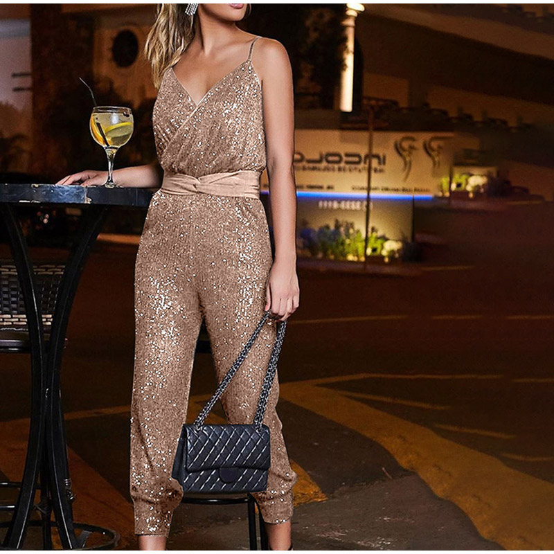 Women Sequin Glitter Spaghetti Strap Jumpsuit V-Neck Sleeveless Backless Female Rompers 2020 Summer Fashion Casual Lady Clothes