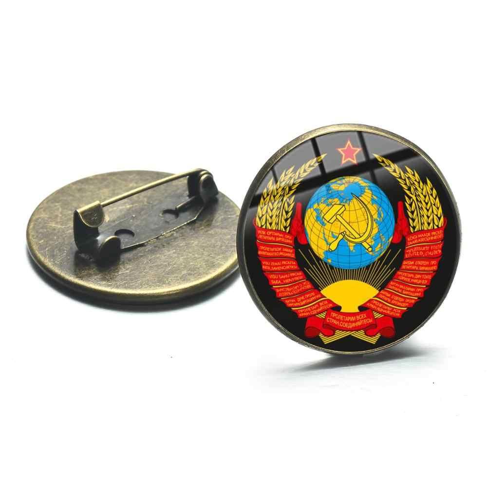SONGDA Retro Uni Soviet Soviet Sabit Hammer Kerah Pin Lencana Pro Kitty Komunisme Insignia Simbol Rusia Logam Bros Aksesoris Pakaian