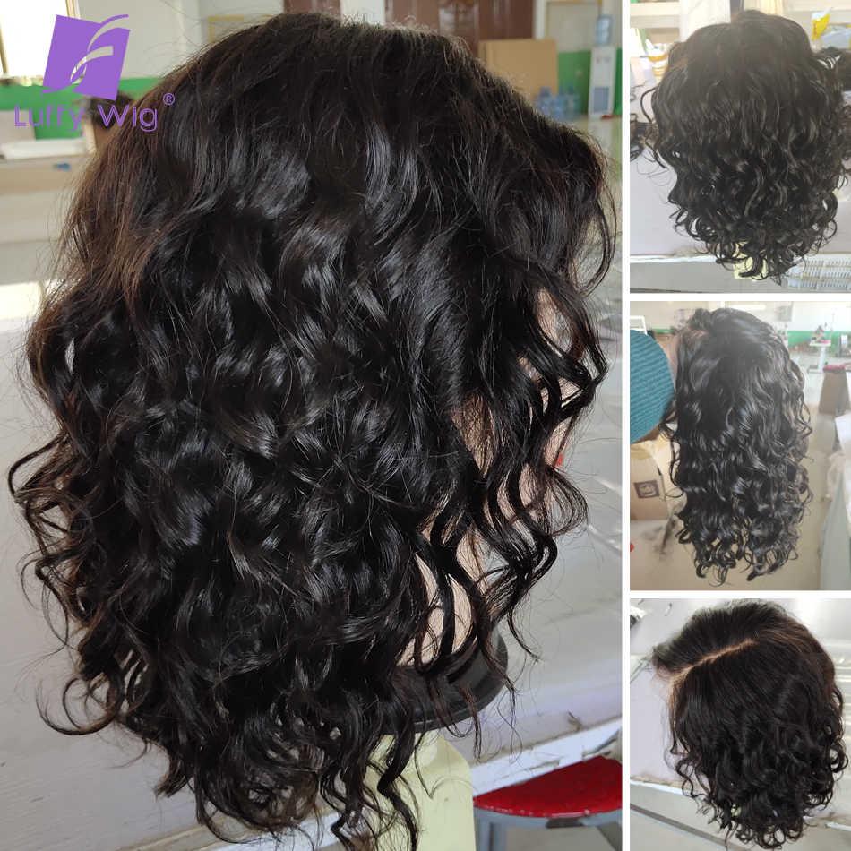 13x6 Боб Синтетические волосы на кружеве парики Поддельные головы 180% короткие свободные глубокая волна парик Remy бразильские волос Синтетические парики из натуральных волос на кружевной предварительно LUFFY