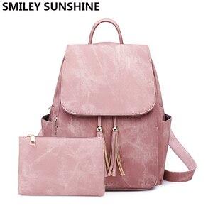 Image 1 - Pink Vintage Backpack Women Back Pack Leather Bag Tassel Female Bagpack Student Girl Teenager Backpack Feminina 2020 sac a dos