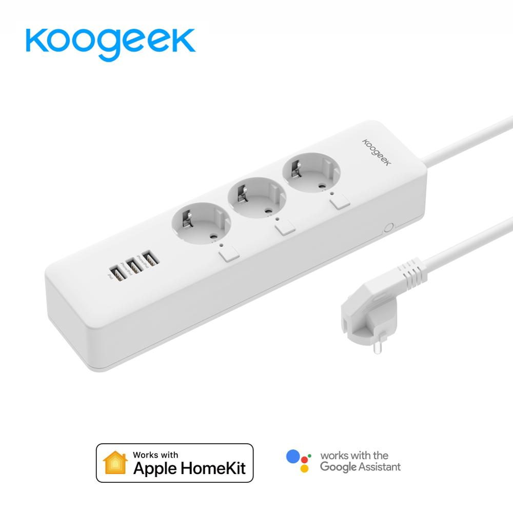 Koogeek Wi Fi розетка ЕС вилка розетка w/индивидуальный переключатель мощность полосы Смарт зарядное устройство 3 usb порта зарядки для Apple Homekit