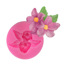 New Style and 2 Double-flowered Lotus Trumpet Flower Shape Fondant Silicone Mold Baking Cake Chocolate Mold