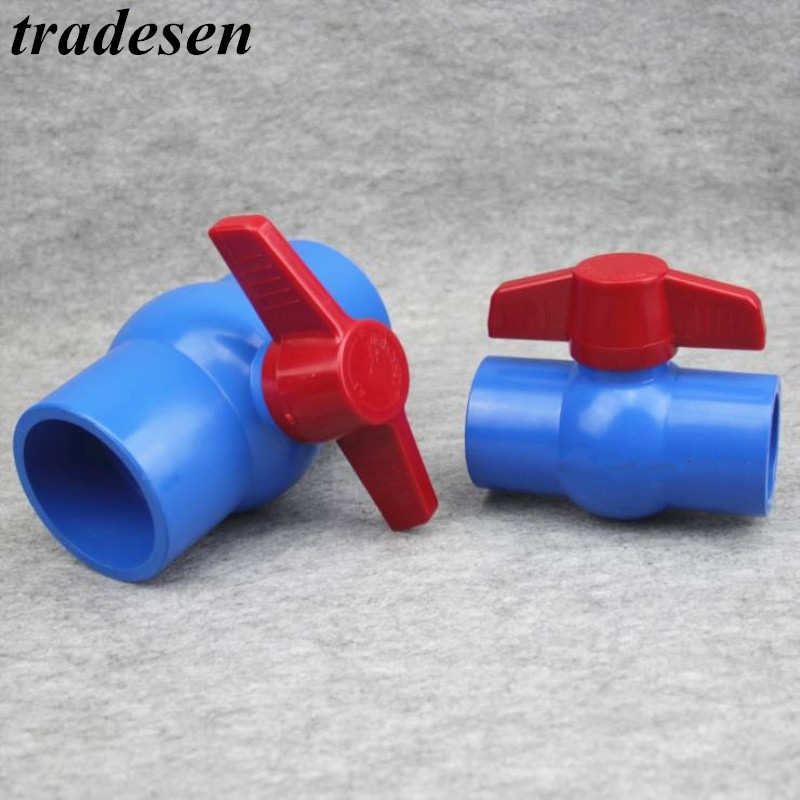 Red Non-slip Handle PVC Ball Valve 20/25/32/40/50mm Inner Diameter Switch 2 Way Slip Ends Water Shut Off Flow Controller Valve