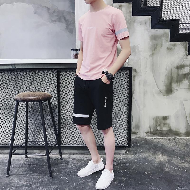 Fashion Man Short Sleeve T-shirt Suit Korean-style 2018 Cool Trend Loose-Fit Leisure T-shirt Summer Handsome Set Men'S Wear