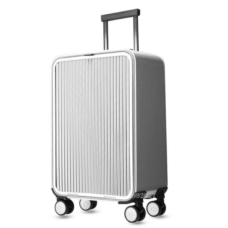 """Nueva moda de 100% completa de aluminio de 16/20/24 """"pulgadas maleta de equipaje de viaje spinner ruedas negocios bolso valija con carrito en la rueda"""