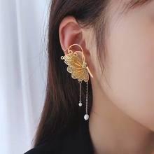 Temperament Big Butterfly Tassel Drop Earrings Women Gold Color Statement Earings Fashion Jewelry Wholesale trendy earrings set 6 pairs earings stud statement earrings big drop earrings jewelry earrings for women pearl earings gold 2020