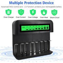 8 Khe Cắm Đa Chức Năng Sạc Pin Cổng USB AA/AAA/C/D Sạc Pin Sạc với Màn Hình Hiển Thị LCD