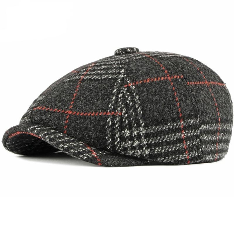 HT2700 Autumn Winter Wool Hat Flat Cap Retro Plaid Men Women Octagonal Newsboy Artist Painter Beret