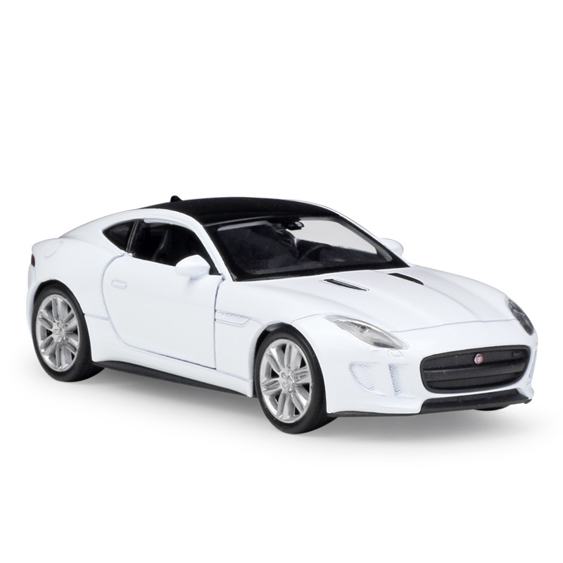Welly 1:36 Original Box JAGUAR F-Type White Coupe Black Pull Back Car Diecast Car Model Toy Vehicle Car Model Models Kids Car