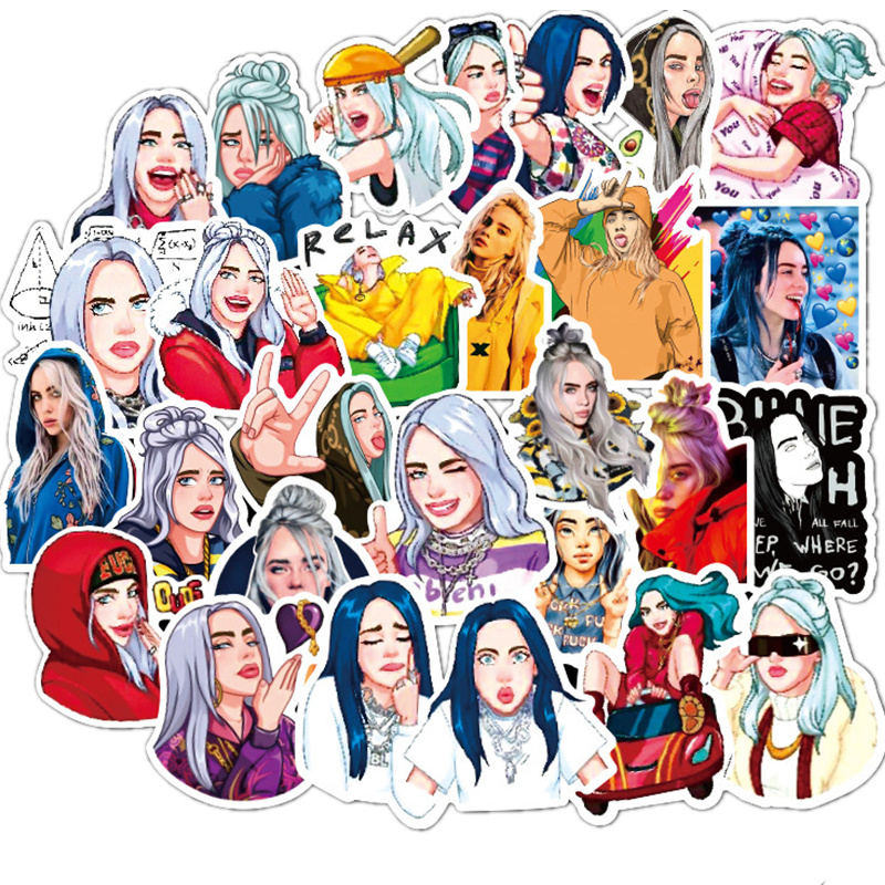 50Pcs Billie Eilish Cartoon Sticker Waterproof Suitcase DIY Laptop Guitar Skateboard Toy Lovely Stickers