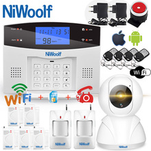 Wifi PSTN GSM Alarm System 433 Wireless Wired Detectors Alarm Smart Home Relay Output APP English/Russian/Spanish/France/Italian english french russian spanish voice wireless wired home security gsm alarm system lcd display touch keypad