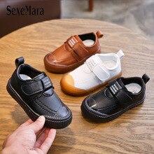 Весенне-Осенняя детская кожаная обувь в английском стиле белые кроссовки для маленьких мальчиков и девочек с буквенным принтом на плоской подошве C08262
