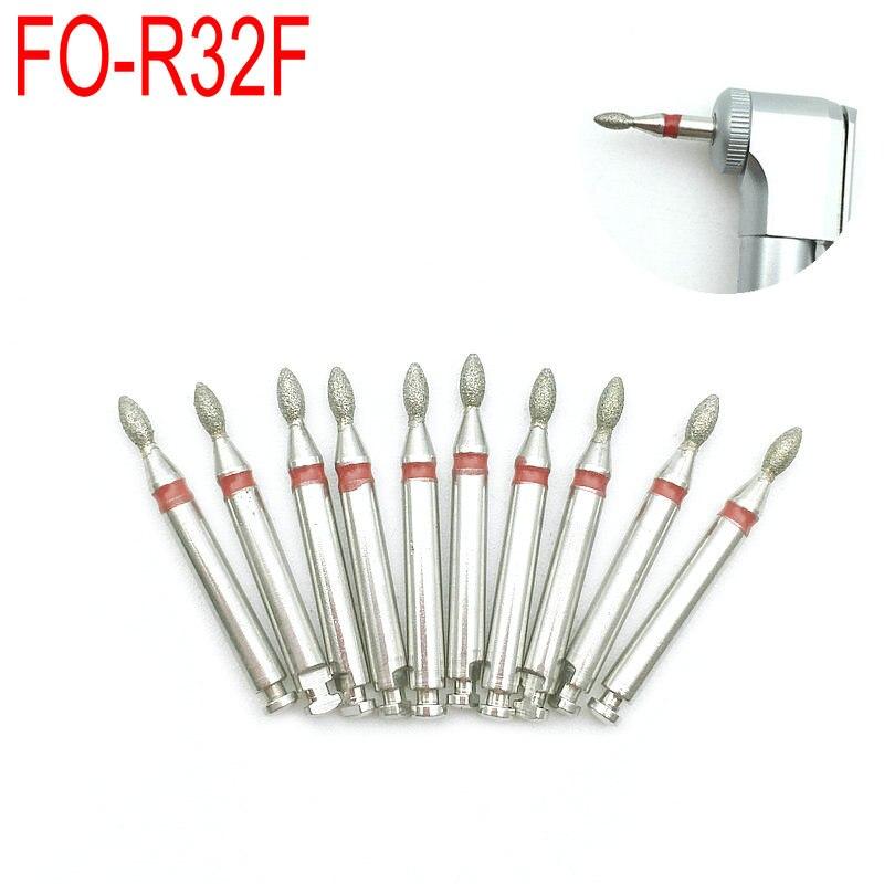 10 pcs dental diamante burs broca para angulo contra de baixa velocidade handpiece dentista ferramenta para