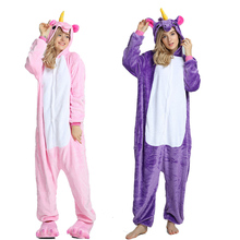 Animal Pajamas Stitch unicornio Sleepwear Pink Unicorn Sets Kigurumi Women Men Unisex Adult Flannel panda Nightie 2019 Winter